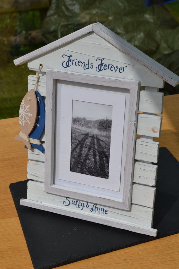 Personalised beach hut style photo frame christmas for Beach hut style