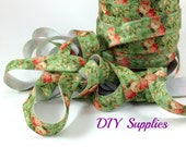 5/8 Green vintage floral fold over elastic, FOE headband elastic for making diy hair ties, foldover  elastic by the yard