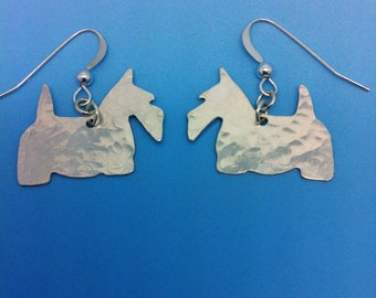 925 Sterling Silver Scottish Terrier Dog Earrings