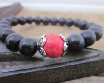 beaded bracelet black wooden bead bracelet red stone bracelet Bohemian mens stretch stacking Bracelet boho jewelry game day bracelet