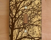 Ljubljana Weeping Vinyl Light Switch Cover, Outlet Cover, Wallplate, Brown, Nature, Branches, Forest, Silhouette, Tree, Woods, Woodland