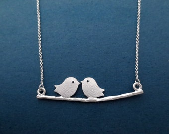 Beautiful, Birds on a branch, Silver, Necklace, Birthday, Lovers, Best friends, Gift, Jewelry