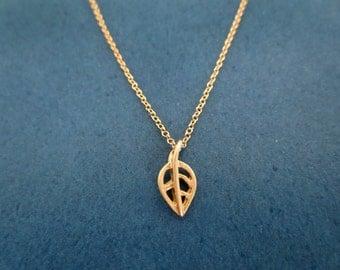Tiniest, Gold, Skeleton, Leaf, Necklace