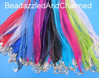 Organza Ribbon and Wax Thread Cord Necklaces QTY 10