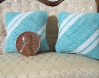 Set of 2 green stripe dollhouse pillows