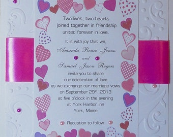 50 Embossed and Embellished Butterfly Pink Invitations for Weddings or any Occasion Customized for You