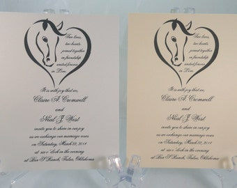 50 HORSE HEARTS Invitations for Weddings or any Occasion Customized for You