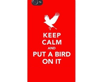 "Apple iPhone Custom Case White Plastic Snap on - ""Keep Calm and Put a Bird on It"" Red & White 8373"