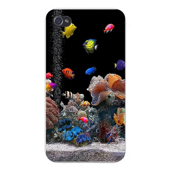 Apple iphone custom case white plastic snap on colorful fish for Snap on fish tank