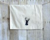 Stag Tea Towel, Hand Printed Tea Towel, Hand Stamped Black Antlers