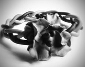 Free shipping. Gray flower polymer clay bracelet.