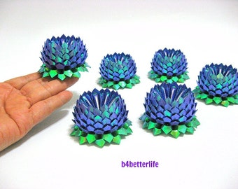 Lot of 6pcs Dark Blue Color Small Size Origami Lotus. (TX paper series).