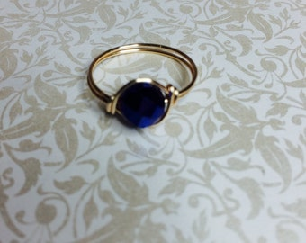 Midnight blue crystal wire wrapped ring