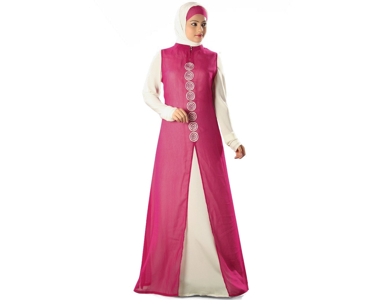 Mybatua Two Piece Set Islamic Abaya With Churidar Sleeves