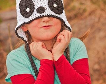 Panda Bear Hat with 3 detachable flowers