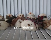 Primitive Christmas Winter Gathering of Snowmen - Primitive Snowman - Primitive Cloth Snowman  - Christmas Snowman