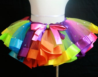 Rainbow tutu skirt with a little bling for Birthday's 2T