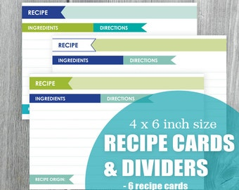 Recipe Cards and Dividers Digital Printable Navy Blue Spring Green Turquoise DIY