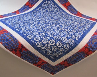 Colorful Quilted Square Table Topper - add bright blue and white to your table or kitchen island