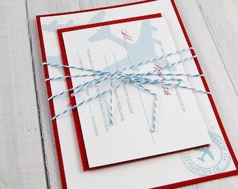 Travel Theme Wedding Invitation - Travel theme wedding - Airplane Invitation