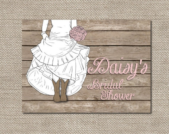 Boots Wedding Invitations: Bride In Boots Bridal Shower Invitations Or Bachelorette