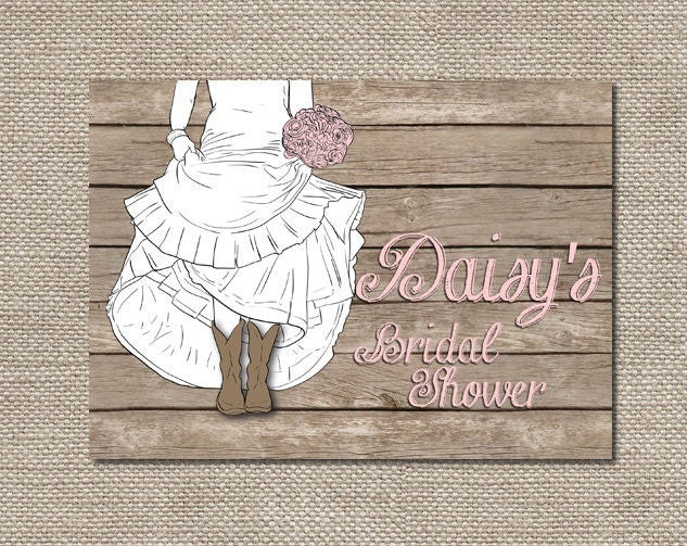Boots Wedding Invitations: Bride In Boots Bridal Shower Invitations Or By TheRocheShop