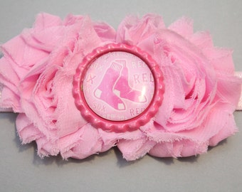 Pink Red Sox headband, red sox clip, baby headband, newborn headband, toddler headband, alligator clip