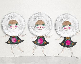 Mexican Girls fashion print illustration