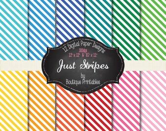 Just Stripes- Rainbow stripes digital papers - 12x12 and 8.5x11 300 dpi