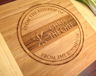 Personalized Cutting Board, Custom Engraved Cutting Board, Chef's Kitchen, Housewarming Birthday First Home, Bamboo Wood --21184-CUTB-001