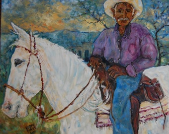 20x 24  Horse With No Name,  I came upon this friendly cowboy rancher in a small pueblo outside of Alamos Sonora Mexico,