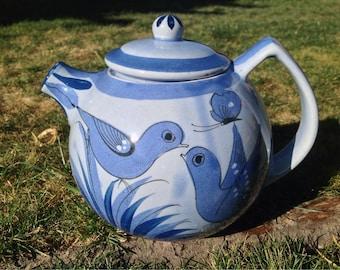 El Palomar Tonala Mexican Pottery Teapot - Blue Birds
