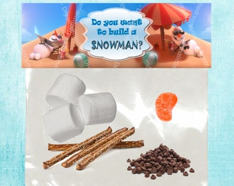 Olaf in Summer Editable Snack Tag