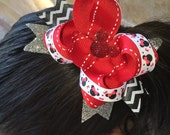 Disney Minnie Mouse Glittery Red, White, Chevron Black, and Silver Bow with Red Rhinestone Mickey Center Embellishment