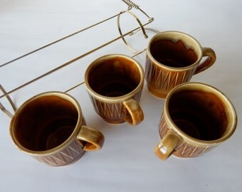 Stackable Coffee Mugs with Vertical Antique Brass Holder - Mid Century Modern Coffee Cups/Mugs Kitchen - Space Saving Vintage Kitchen Design