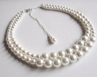 Vintage PEARL wedding NECKLACE 2 strand large white pearl necklace big pearl necklace double pearl choker wedding jewelry pearl jewellery
