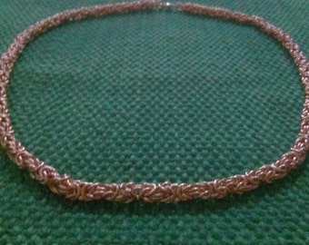 byzantium: chainmaille necklace in copper