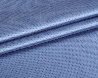 Heavy pure mulberry silk fabric—yarn-dyed, chic blue dotted lines with luxury sheen for dress, skirt, pants, coat, suite by the yard