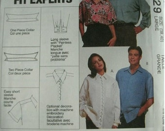 Misses, Men's and Teen Boys' Shirts Size 38-40 McCalls 3-Hour Shirt Pattern 6529 The Fit Experts Mint Condition UNCUT Pattern Dated 1993