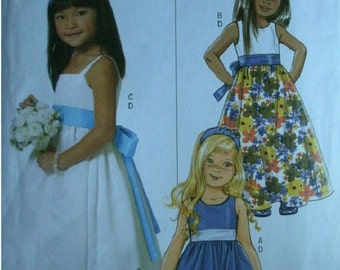 Girls Party Dress, Sash and Headband Girls Sizes 2-3-4-5  Butterick Pattern B5458  Rated Easy to Sew  UNCUT Pattern 2010