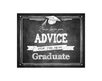 Please leave your ADVICE for the Graduate digital download - Graduation Sign - Chalkboard Graduation Collection