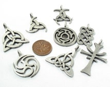 Pagan Charm Collection; 25 Pewter Pagan Findings in Matte Antique Nickel/Silver made with Lead Free Pewter SKU#PCK0002