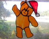 Handmade Stained Glass Christmas Teddy Bear with Santa Hat Suncatcher Ornament