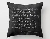 Velveteen Pillow - Emerson Quote - Quote Pillow - Inspirational Pillow - Girls Room Decor - Boys Room Decor - Teen Pillow - Gift Ideas
