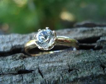 WHITE TOPAZ  engagement ring, natural Australian topaz ring, alternative engagement, size 5 6 7 8 9, conflict free ecofriendly, ExquisiteGem