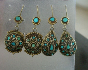 Indian earings made from metal and stone