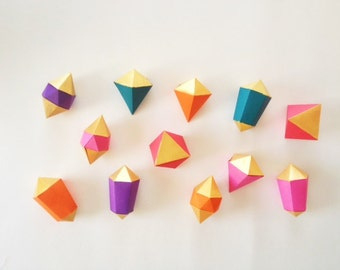 Geometric shapes for garland or decoration, set of 12