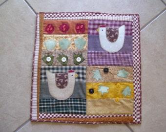 Farmhouse Crazy Chicken Farm Quilted Table Topper