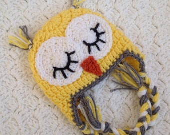 Crochet Owl Hat, Baby Yellow Owl Beanie Sleepy Owl Hat Easter Owl hat Boys or Girls Owl hat