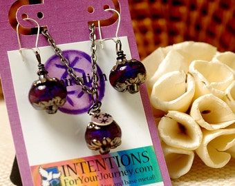 INSPIRATION - Handmade Inspirational Jewelry - Glass Lampwork Pendant Necklace and Earrings